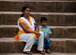 Mother and son in India