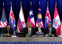 Barack Obama speaks at the Trans-Pacific Partnership Leaders meeting at the Hale Koa Hotel during the APEC Summit in Honolulu, Hawaii, November 12, 2011. (American Enterprise Institute)