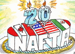 As NAFTA turns twenty, the agreement has accomplished what it was designed to do - increase trade. Image Source: The Economist/Dave Simonds