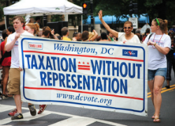 taxation without representation plate on presidential motorcade