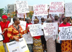 Local community protests against the Boko Haram for stealing young school girls. Image Source: BBC/AFP