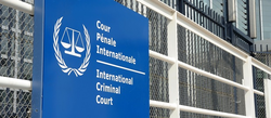 Sign at the International Criminal Court.