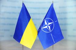 Ukraine's flag next to the NATO flag.