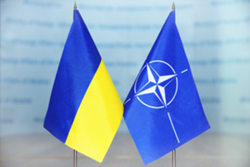 Ukraine's flag next to the NATO flag.