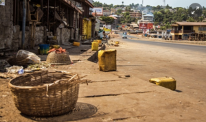Empty roads in Freetown, Sierra Leone.