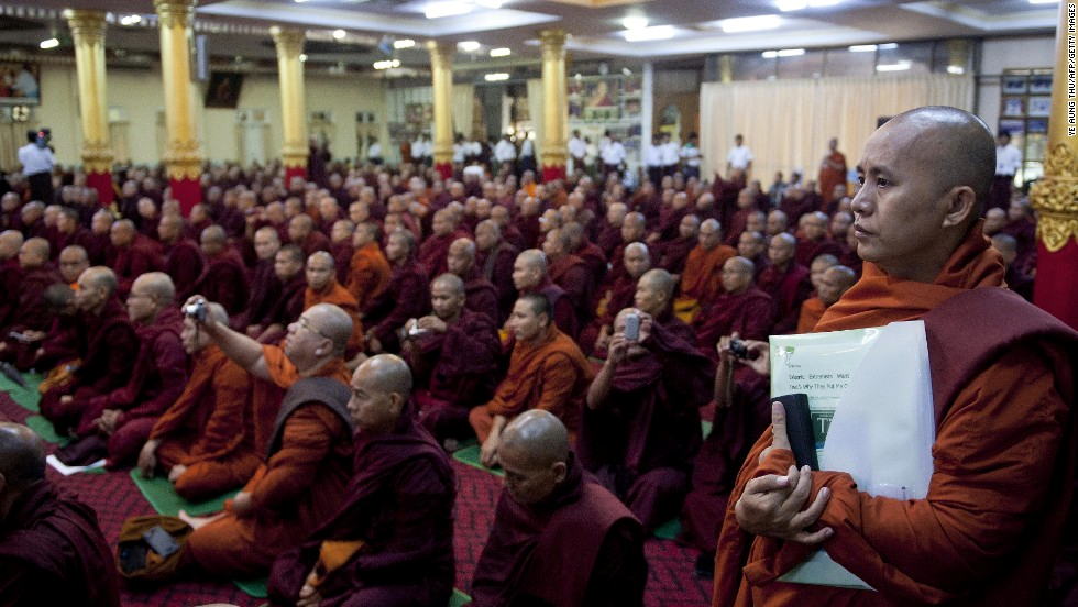 Theravada Buddhist civic leaders in Myanmar.