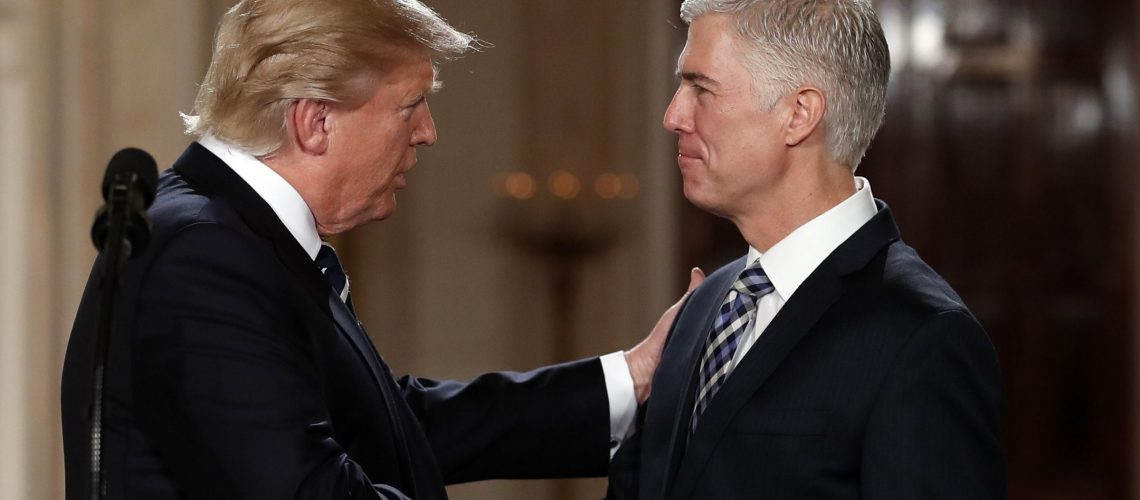 President Trump shaking hands with Judge Neil Gorsuch, his nominee to replace Justice Antonin Scalia on the Supreme Court, on January 31, 2017.
