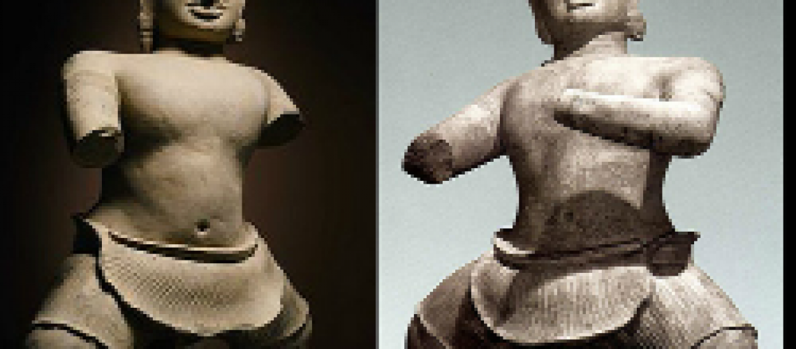 These matching, thousand-year-old statues were likely looted during Cambodia's civil war. (NYULocal)